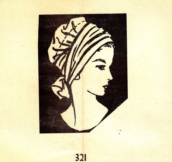 60s Vintage Mail Order Sewing Pattern Turban Style Hat 21 1/2 Inch Head Size