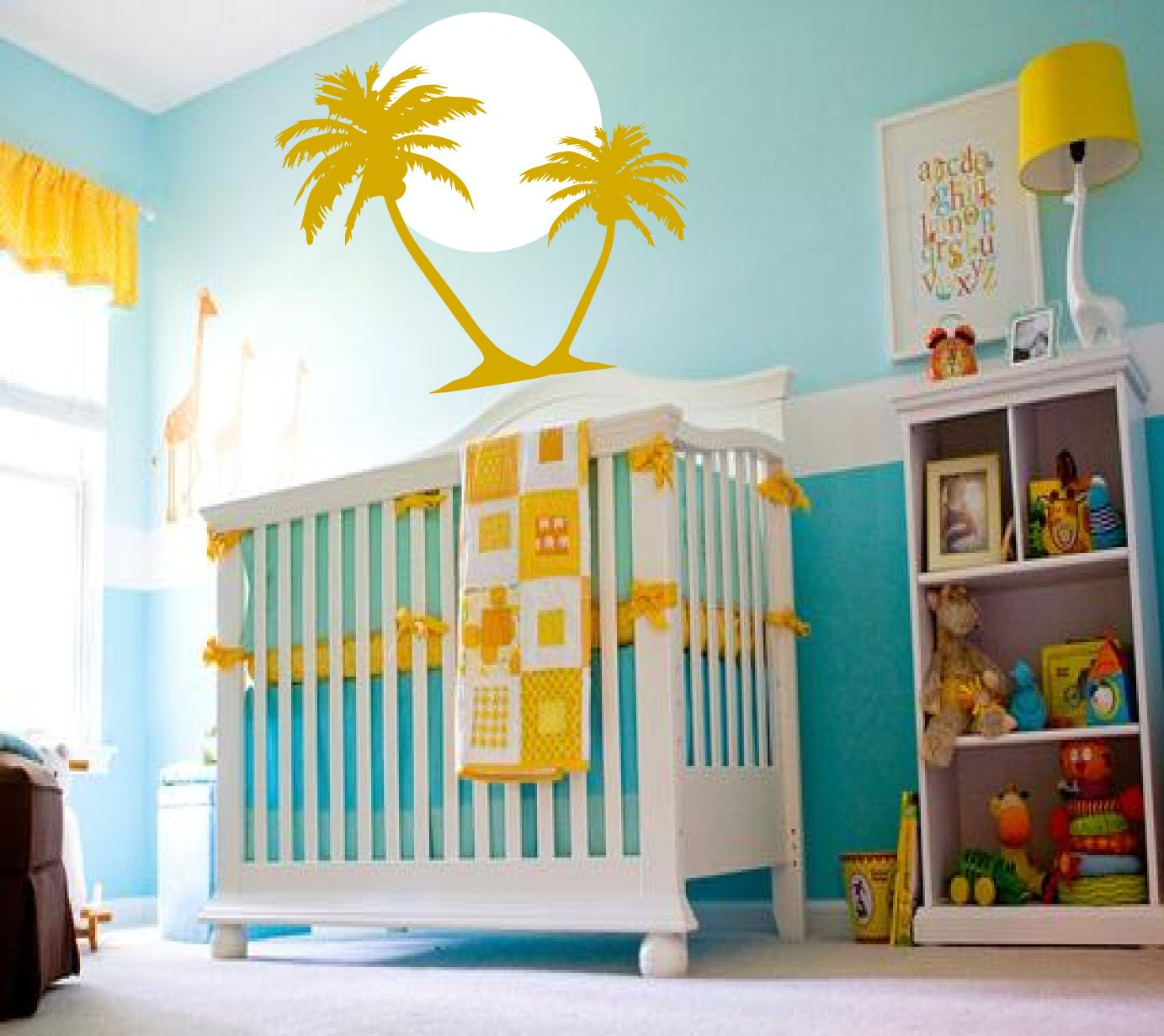 Beach baby sunrise with palm trees surfer nautical by for Surf nursery ideas
