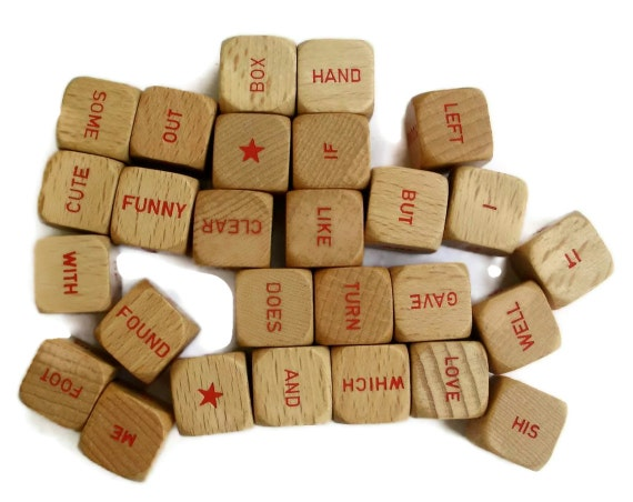 Scrabble Sentence Game Cubes Red Words set of 10