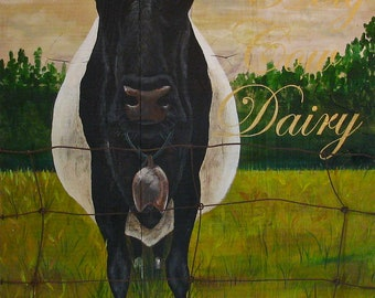 Cow, original acrylic painting on reclaimed rustic soid wood board, Holy Cow Dariy