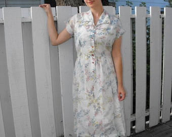 Sheer White Floral Print Vintage 50s Dress L XL