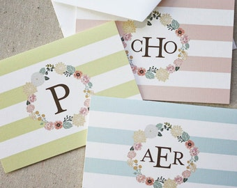 Monogrammed Floral Wreath Notecards in Aqua - Set of 10 fold-over cards
