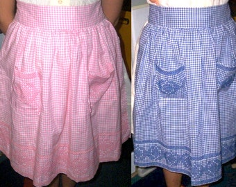 Vintage 50s Handmade Hand Stitched Embroidered Aprons Pink and Blue Available