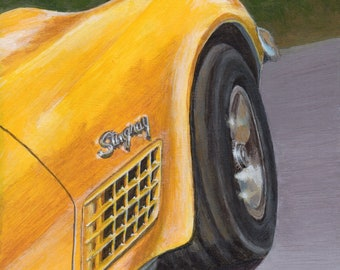 Original Car Painting - Acrylic Painting on Wood Panel Yellow Corvette, Transportation Themed Art