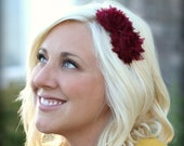 Maroon Shabby Chic Flower Headband for Adults and Teens