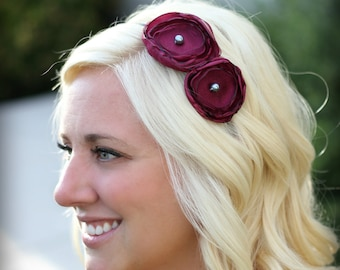 Headband for Women, Wine Double Flower, Headband for Adults and Girls