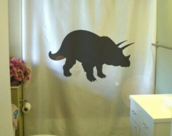 triceratops shower curtain dinosaur horn late Cretaceous period Jurassic bathroom decor kids bath curtains custom size long wide waterproof