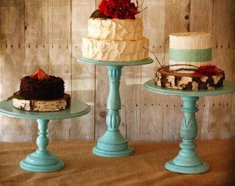 One Rustic Tall Pedestal Serving Cake Stands - Set of 1 - Any color-