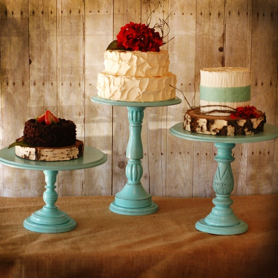 One Rustic Tall Pedestal Serving Cake Stands Set Of 1 Any