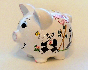 Personalized Piggy Bank Panda Bears With Flowers