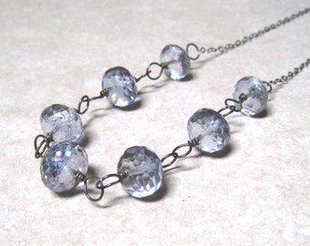 Mystic Blue Topaz Necklace Wire Wrapped In Sterling Silver,  December Birthstone Jewelry,  Blue Stone Necklace