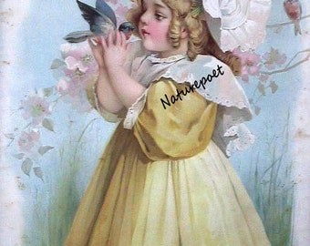 Victorian Girl with Bluebirds Downloadable, Printable Digital Image