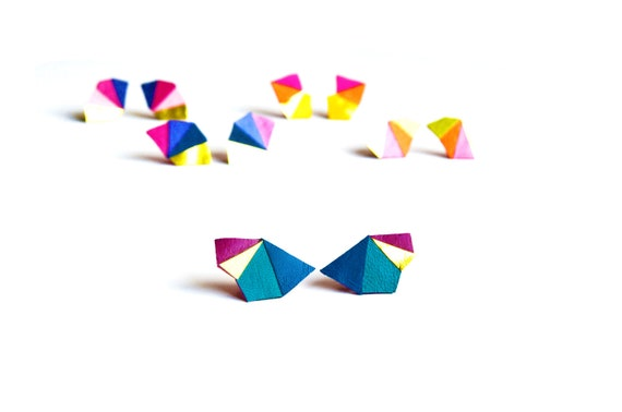 Triangle Post Stud Earrings Geometric Turquoise and Fuchsia Color Block Leather
