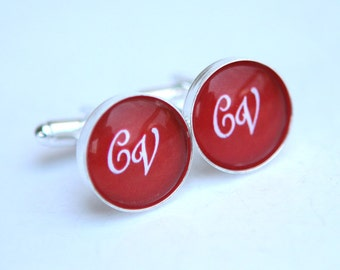 Personalized Cuff links, Red Wedding Cufflinks Monogrammed Gifts for him, Initial Cuff links Custom Color, Personalized Gifts for Groomsmen