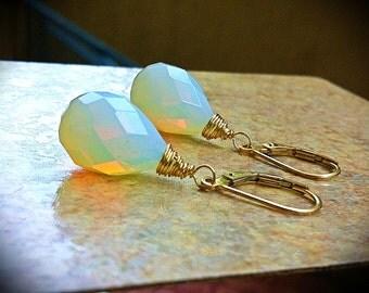 Petite Opaline Moonstone Earrings. Goldfill-Sterling Silver-Rose goldfill-Tarnished Silver