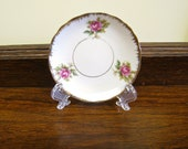 Bone China Butter Pat, Miniature Plate from Child's set, White with Roses, Butterpat, Tip Tray, Pin Dish