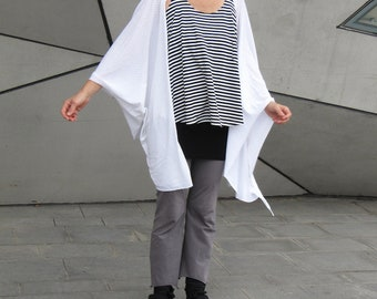Multi purpose long shawl - White, with small transparent polka-dots
