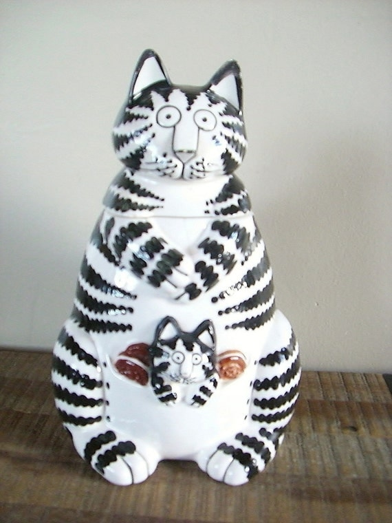 Vintage Kliban Cat Ceramic Cookie Jar