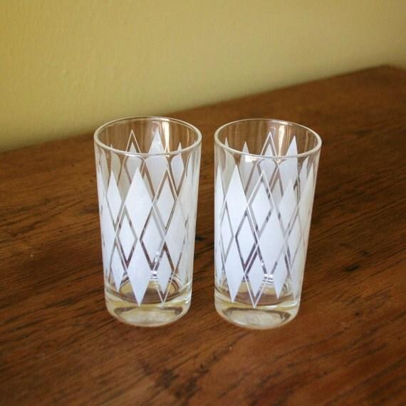 Pair of Mid Century Drinking Glasses - White Painted Diamond Pattern
