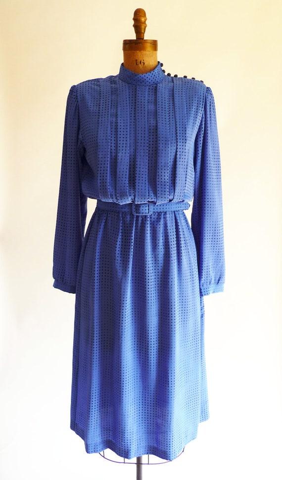 80s dress - pintuck secretary dress - high collar