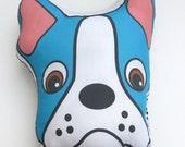 Tête d'oreiller bleu Boston Terrier