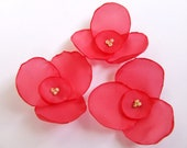 Artificial flowers, Fabric flowers, Pink fabric flowers 3 pcs.