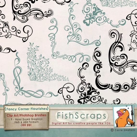 Digital Stamp Design Flourish Rose Border Corner Clip Art: Elegant Swirl Corner Flourishes Clip Art Images By FishScraps