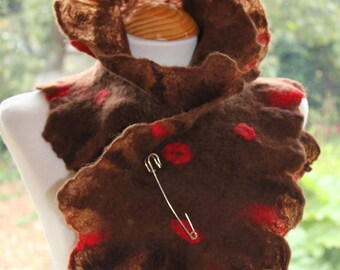 Brown Felted wool scarf neck warmer scarflette with scarlet red - come with FREE KILT PIN - artsy one of a kind piece