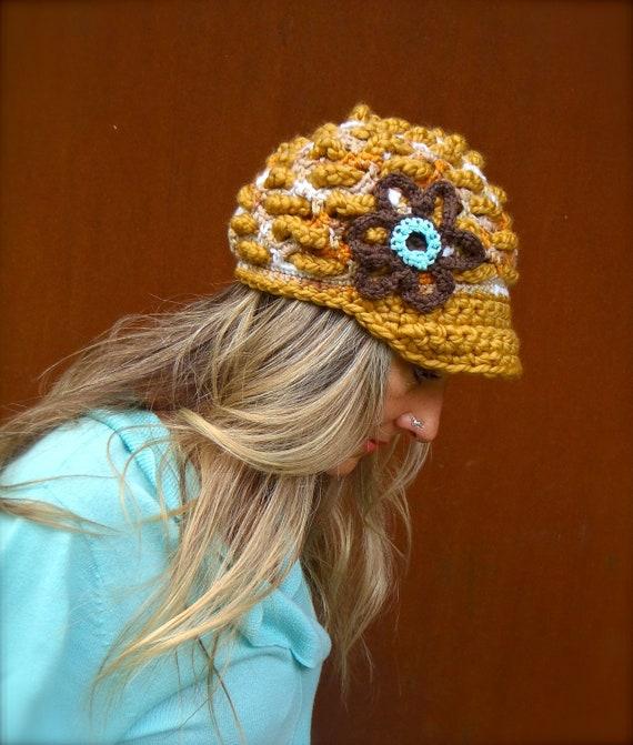 Mustard Yellow SLOUCHY beanie crochet Slouch hat FLOWER cap NEWSBOY hat Bohemian hat interwoven pattern Hippie Gypsy Funky hat