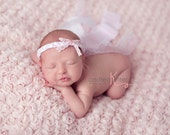 New Style- Jeune collection- white and baby pink newborn to adult adjustable braided band