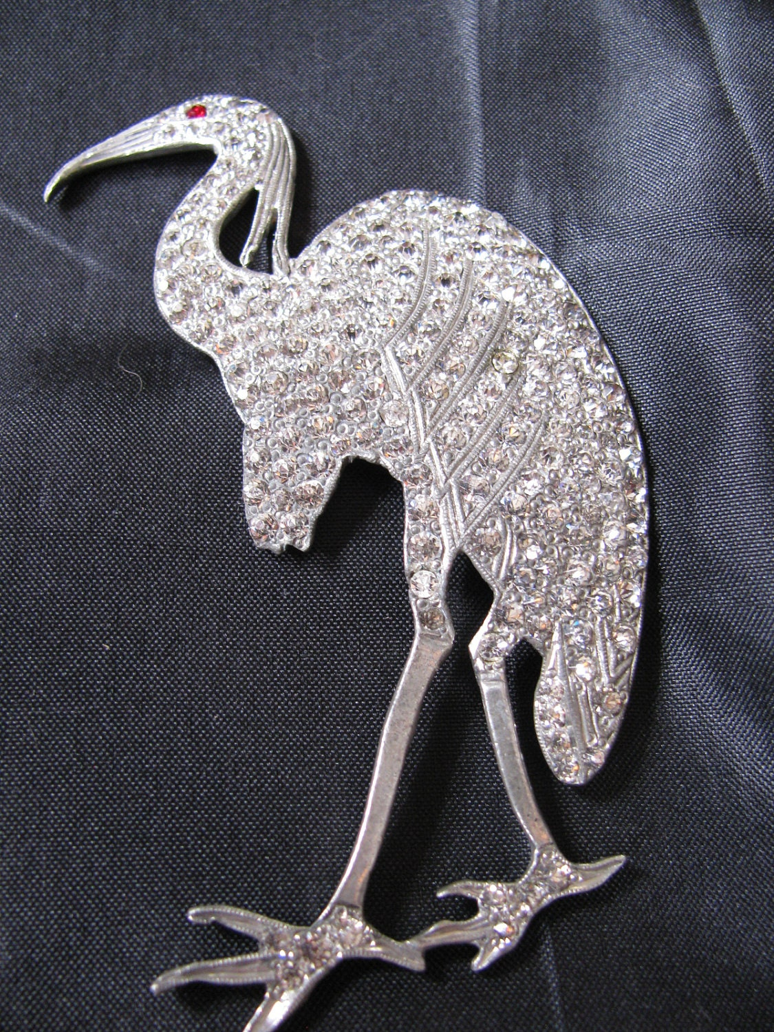 art deco rhinestone crane brooch. Black Bedroom Furniture Sets. Home Design Ideas