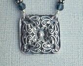 Square scrolls pendant necklace - fine silver PMC