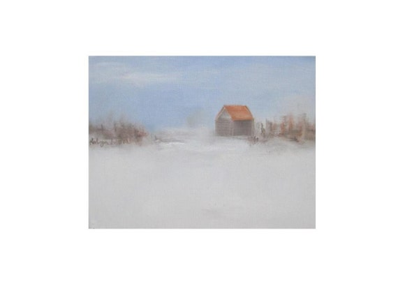 """white winter landscape , woodland, rustic, oil on canvas 18""""x14"""", Winter Landscape 1, original oil on canvas study"""