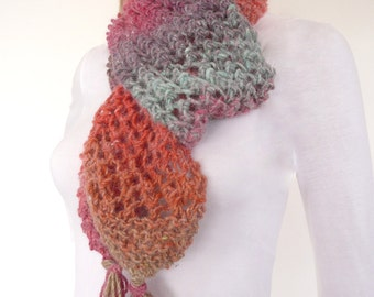 Chunky Knit Scarf , Chunky scarf - Multicolor Hand knitted Scarf - Unique winter accessory