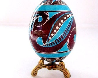 Easter egg handpainted on real chicken egg shell,modern style design Pysanka with swirls,trypillian inspired design,funky,hipster Easter egg