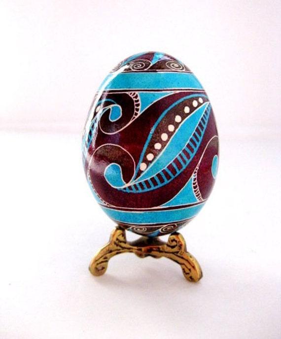 Easter egg handpainted on real chicken egg shell,modern style design Pysanka with swirls,trypillian inspired design,funky,hipster Easter egg