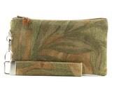 Green clutch bag - fern leaves fabric small purse - rustic wristlet - womens handmade handbag - MADE TO ORDER
