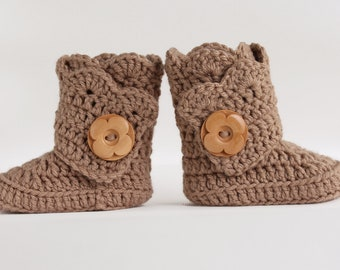 Tan Infant Crochet Shell Wrap Boots- Choose Your Size