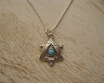 Turquoise and Sterling Silver Star of David Necklace, Star Pendant, Jewish star
