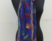 Multicolored Peacock Design Nuno Felted Navy Silk Chiffon Scarf Preorder