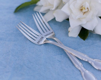 Vintage Silverware Bride Groom Sweetheart Cake Forks Wedding Reception