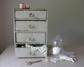 Small Wooden Chest 4 Drawers Shabby Storage Industrial Cabinet Office Organization Workshop Studio Robin's Egg Blue