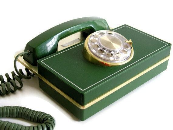 Mid Century Modern Telephone Rotary Dial Western Electric Mod Executive Desk Phone Avocado Green Gold Metal