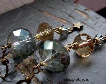 FIGURE - graduated rainwater, mint & pale jewel crystals,miniature metalwork star, long duster earrings