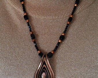 Necklace Black Copper Glitter Glass Spoon Black Agate Miracle Beads Caramel Brown tones