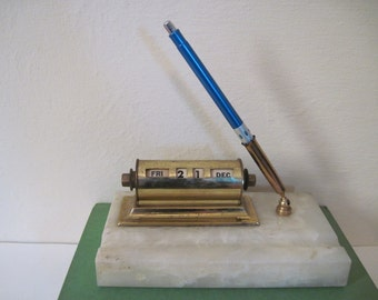 vintage 1940s Brass Perpetual Calendar and Pen Holder on Milky Quartz Marble Base -  Paperweight