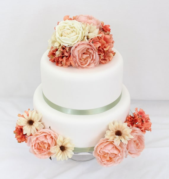 Silk Flower Wedding Cake Toppers: Wedding Cake Topper Coral Ivory Rose Coral Hydrangea Silk
