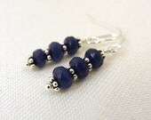Blue chalcedony gemstone earrings with sterling silver