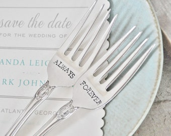 FOREVER & ALWAYS - Vintage Wedding Cake Forks (Matching Set)