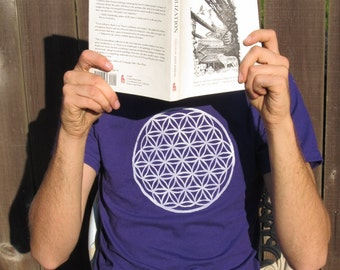 Flower of Life T-Shirt, Purple Unisex Extra Large XL - shirt print sacred geometry, ancient symbol, occult, earth, crop circle, psychedelic